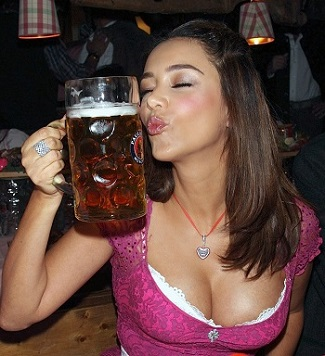 Hot Classy Beer Drinking Girl Celebrating Oktoberfest in Savana,Ga